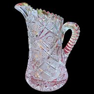 ABP American Brilliant Period Cut Glass Elmira #51 Tall Flange Water Jug Pitcher