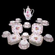 Schumann Bavaria Coffee Pot Dessert Set DRESDEN Flowers Garland Swags Cameos
