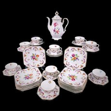 Schumann Bavaria Coffee Pot Dessert Set DRESDEN Flowers Garland Swags Cameos