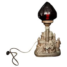 Antique Figural Electric Lamp Cranberry Flame Torch Red Globe Shade Serenade
