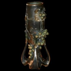 Antique Bohemian Amphora Art Nouveau Pottery Vase with Grapes and leaves c.1900, incised signature and number