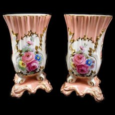 2 Pink Limoges Vases Old Paris Signed Mantle Vases