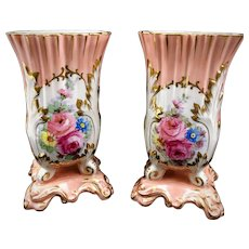 Limoges Vases Old Paris Signed Mantle Vases Pink 2