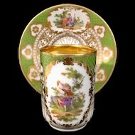 Richard Klemm Dresden Cup & Saucer Courting Couple Green & Gold