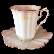Foley Pre Shelley Wileman CUP & SAUCER RARE Antique 1893 Dainty Pink Empire, Ivy Pattern