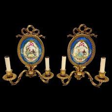 2 SEVRES French DORE Bronze Porcelain Wall Light CANDELABRA Sconces Ormolu Pair