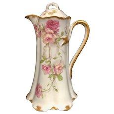 Haviland Limoges Baltimore Rose Pink & Yellow Chocolate Pot Schleiger 1151