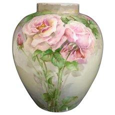 Stunning Willets Belleek Victorian Vase Signed Vase Roses