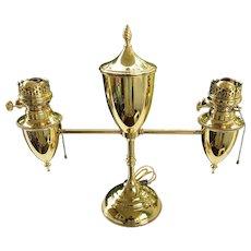 B & H Student Lamp Electrified BRADLEY & HUBBARD Brass Double-Arm Restored