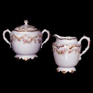 Haviland Limoges Schleiger 270a Double Gold Covered Sugar Bowl Creamer Swags