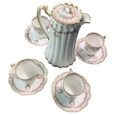 Haviland Limoges Schleiger  319 PINK DROP ROSE SWAGS DOUBLE GOLD CHOCOLATE POT  to include Demitasse Cups and Saucers