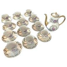 HAVILAND Limoges LOUVECIENNES 26pcs Small coffee pot &12 demitasse cup/saucers