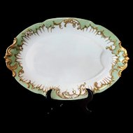 Limoges France C Delinieres Large 19 in Oval Turkey Platter w Well Green Gold