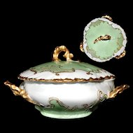 Limoges France W Guerin Covered Dish Rare 3 HANDLES Green Gold French Porcelain
