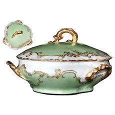 Limoges France W Guerin 3 HANDLES Covered Dish Rare Green Gold French Porcelain