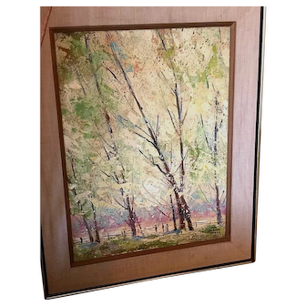 Signed Edmond Woods, Oil on Board, American California Landscape Painting, Birch trees