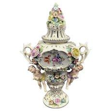 Sitzendorf Urn with Cherubs early 20th century German porcelain