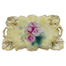 RS Prussia Iris Mold #  25 Dresser Tray W/ Pink Poppies
