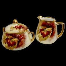 RARE Pickard Autumn Courrants Signed Kean Creamer and Sugar c.1903-1905