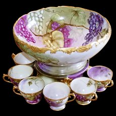 limoges large antique punch bowl with cups, All Artist signed