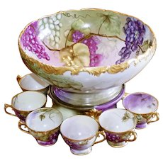 limoges beautiful punch bowl with cups, Artist signed