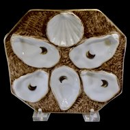 Rare Oyster Plate Antique  Octagon German Oyster Plate, op504