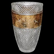 Crystal Vase by Moser with Gilded Cameo Frieze with Warriors
