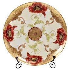 Signed Hand Painted Pickard Haviland Limoges Red/Black Poppy Plate Signed John Loh{Poppy John}