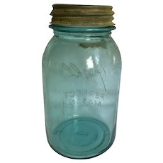Vintage Aqua Blue 1 Qt. Ball Mason Jar
