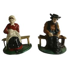 Vintage Amish Couple Bookends - Cast Iron