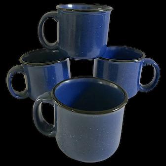 Vintage Marlboro Limited Blue Speckled Ceramic Mugs ~ Set of 4