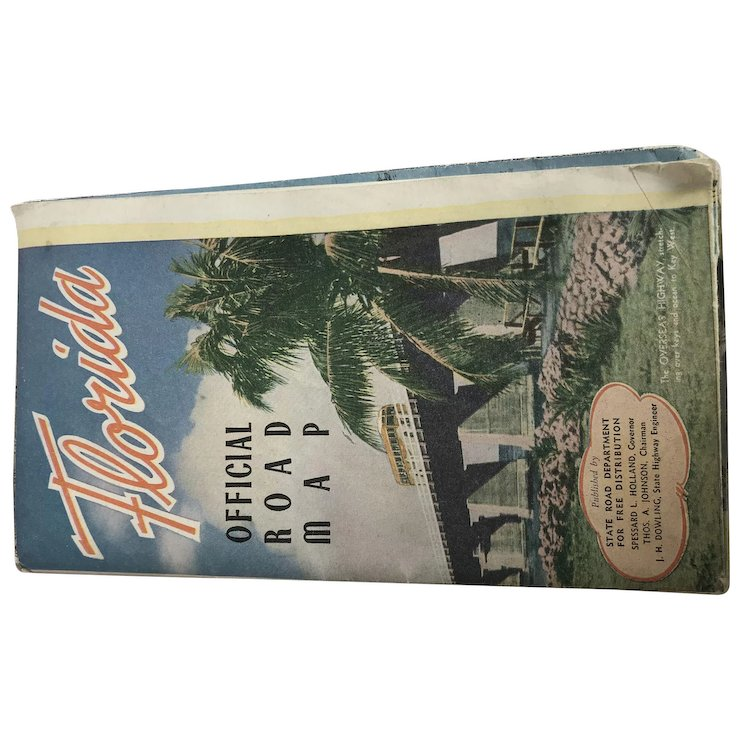 Vintage Official Florida Road Map : Unnecessary Stuff | Ruby Lane