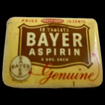 Vintage Bayer Aspirin Tin - 12 Count