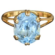14K Gold Blue Topaz Ring with Double Claw Setting