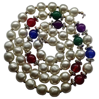 Vintage Simulated Pearl French Necklace Opera Length Red Blue and Green Accent Beads