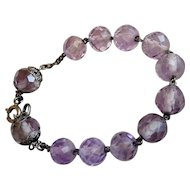 Antique French 19th Century Bracelet in Genuine Amethyst and Sold Silver