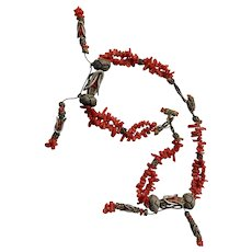 Antique Salmon Coral Necklet, Early Victorian