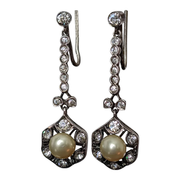 Antique Late Victorian or Edwardian Drop Earrings in Silver with Diamond Paste and Glass Pearl