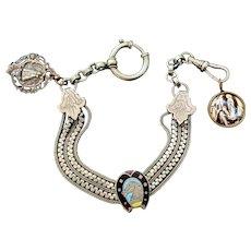 Antique French 19th Century Chatelaine/bracelet with Enamelled Horseshoe Slider and Fleur-de-Lys