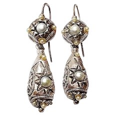 Antique French Gilded Silver Earrings with Glass Pearls and Eight Pointed Star