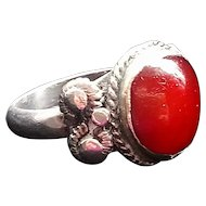 Antique Silver Middle Eastern Ring with Carnelian Stone