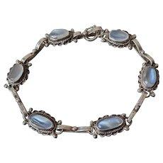 Antique Edwardian Ceylon Moonstone and Sterling Silver Bracelet