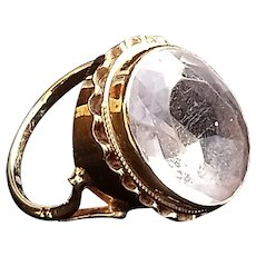 Antique Victorian 9 K Gold Ring with Large Rock Crystal, size 6 1/2 US