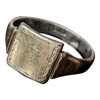 Antique Signet Ring, 9 CT Gold on Sterling Silver, US size U