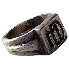 Antique French Silver Signet Ring, Very Old, engraved 'MD'