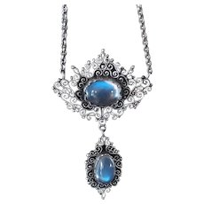 Antique Victorian Ceylon Blue Moonstone Filigree Neckoace, set in Sterling Silver