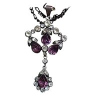 Antique Victorian Diamond and Amethyst Paste Silver Pendant