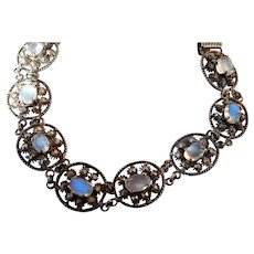 Antique Victorian Ceylon Blue Moonstone Bracelet with Etruscan Style Links and Delicate Filigree