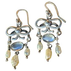 Antique Moonstone And Pearl Earrings in Sterling Silver, early 20 th C