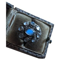 Antique Ceylon Moonstone Cluster Ring, 800 Silver, Contintental, possibly Austro-Hungary